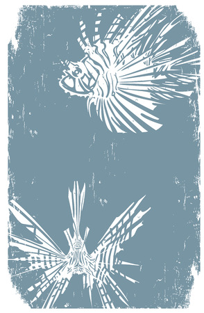Woodcut style image of tropical lionfishes in print style