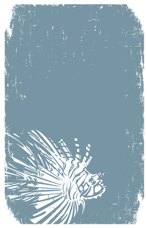 Woodcut style image of a tropical lionfish in print style