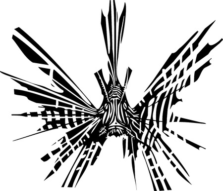 Woodcut style image of a tropical lionfish facing the viewer straight on.