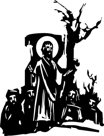 woodcut style expressionist image of Jesus Christ giving a sermon.