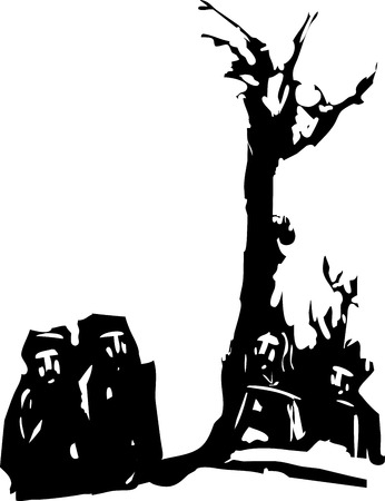 sermon: woodcut style expressionist image of four Men gathered by a tree