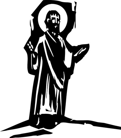 sermon: woodcut style expressionist image of Jesus Christ giving a sermon.