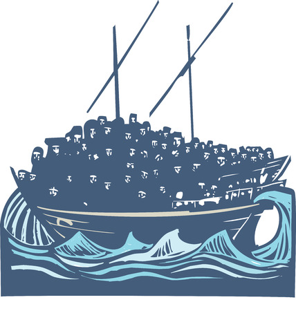 migrant: Woodcut style image of a crowd of refugees an a traditional Arabic ship called a Dhow