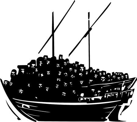 houtsnede stijl afbeelding van een menigte van vluchtelingen een traditioneel Arabisch schip genaamd een Dhow