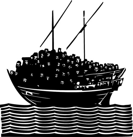 overcrowding: Woodcut style image of a crowd of refugees an a traditional Arabic ship called a Dhow