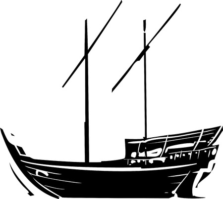 retailers: Woodcut style image of an a traditional Arabic ship called a Dhow