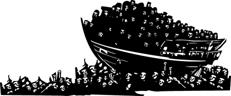 Woodcut style expressionist images of a boat of refugees on a sea of humanity Illustration
