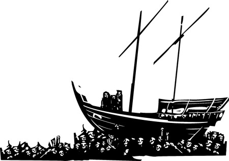 Woodcut style expressionist images of Three men on an arabic dhow carried by a crowd of refugees