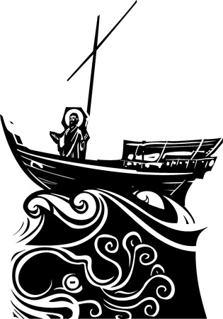 Woodcut style expressionist images of Christ on a storm tossed boat on the sea of Galilee Ilustracja