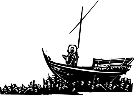 carried: Woodcut style expressionist images of Christ on a boat carried ina sea of mankind Illustration