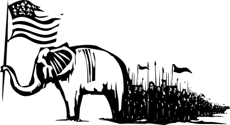 convention: Woodcut Style image of an Elephant waving an American flag leading an army