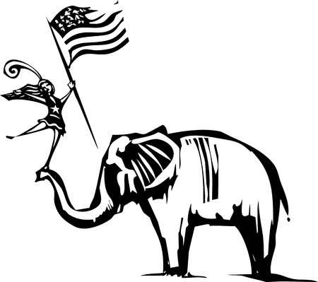 convention: Woodcut Style image of an Elephant with a cheer leader waving an American flag