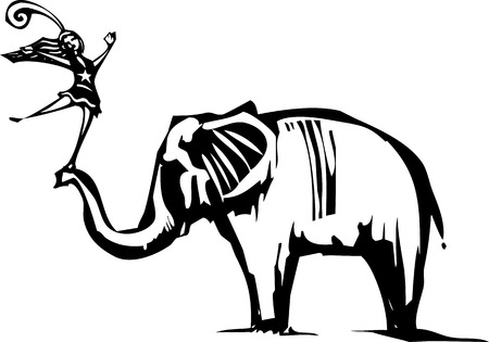 acrobat: Woodcut Style image of an Elephant with a circus acrobat