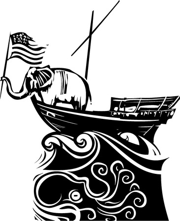 congress: Woodcut Style image of an Elephant waving an American flag on a boat lost in a stormy sea. Illustration