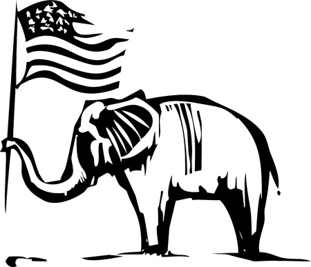 Woodcut Style image of an Elephant waving an American flag Illustration