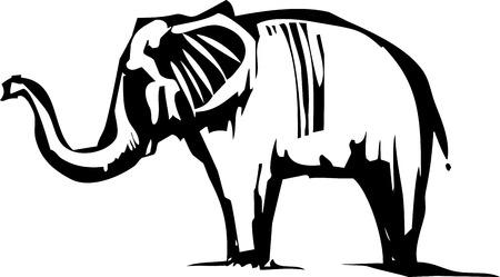 asian elephant: Woodcut Style image of an Asian Elephant Illustration