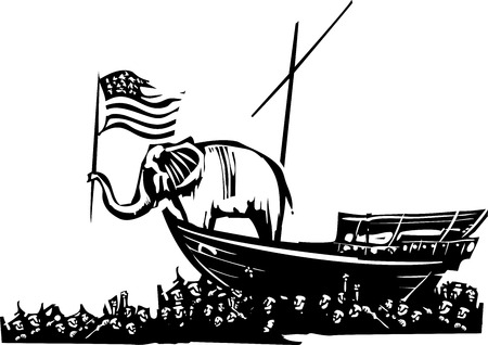conservative: Woodcut Style image of an Elephant waving an American flag on a boat surrounded by a sea of refugees.