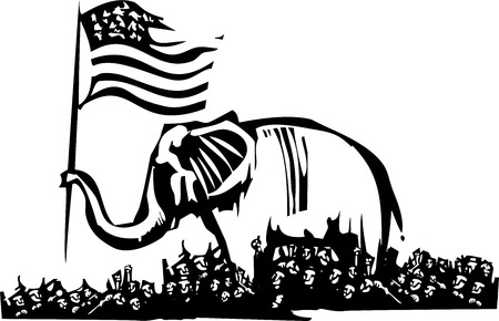 politics: Woodcut Style image of an Elephant waving an American flag surrounded by a crowd of refugees.