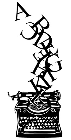 type writer: Woodcut style image of a manual typewriter with letters tumbling out of it.