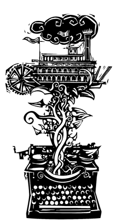 twain: Woodcut style image of a manual typewriter with an American riverboat Illustration