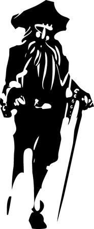 peg: Woodcut style expressionistic image of a Peg legged Pirate