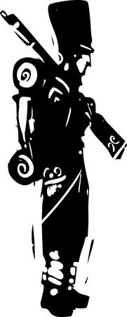 木版画のスタイル表現主義ナポレオン ヘッセ兵士はマスケット銃で  イラスト・ベクター素材