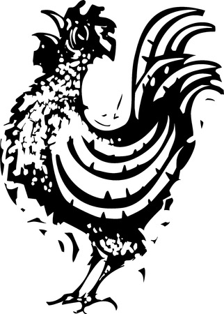 rooster at dawn: Woodcut Rooster crowing at the break of dawn. Illustration
