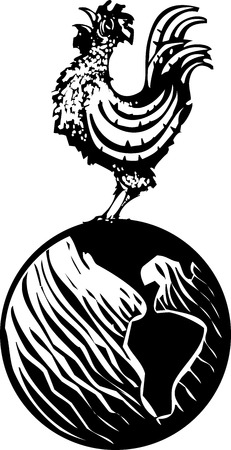 rooster at dawn: Woodcut Rooster crowing on earth globe at the breaking of dawn. Illustration