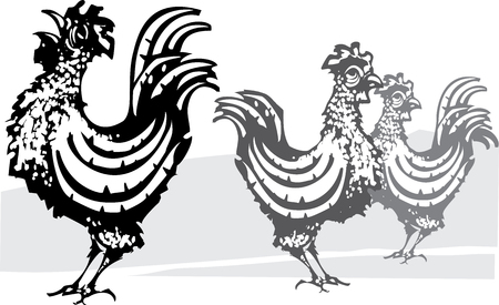 morning sunrise: Woodcut image of three roosters in black and gray Illustration