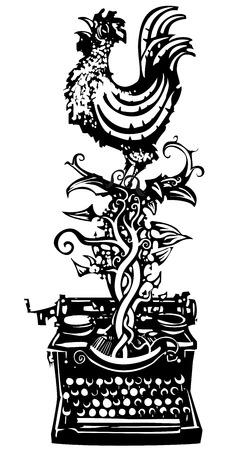Woodcut haan kraaien die uit een typemachine voor wakker nieuws