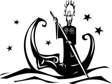 角のある異教の神によって川に分極処理される木版画花鳥風月  イラスト・ベクター素材