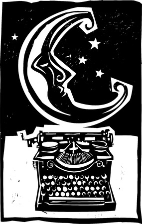 Woodcut style moon and an old style typewriter in black and white