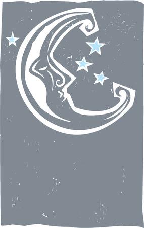 Houtsnede stijl maan de sterrenhemel 's nachts