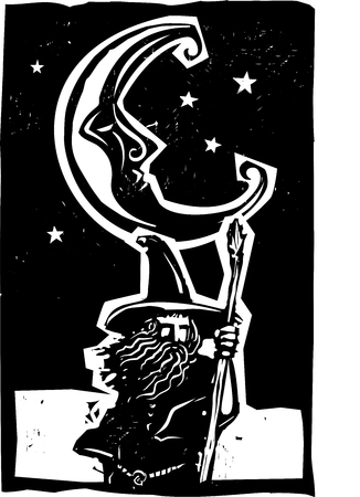 quest: Woodcut style moon and fantasy wizard on quest