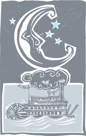 twain: Woodcut style moon and old time Mississippi riverboat