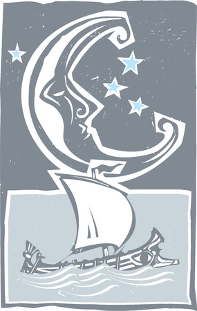 Woodcut style moon and ancient Greek galley ship