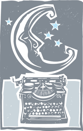 Woodcut style moon and an old style typewriter