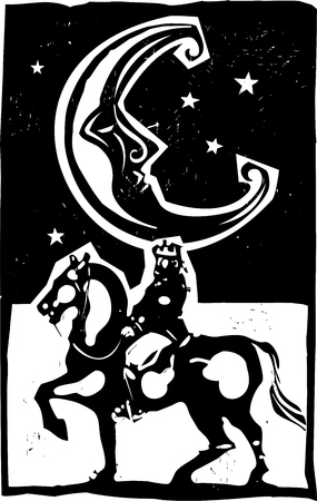 realm: Woodcut style moon and mounted king on a horse