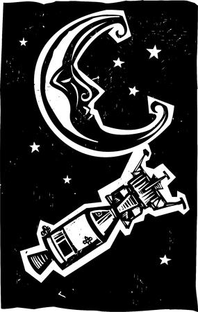 Woodcut style moon and American space capsule 向量圖像