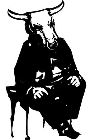 Woodcut style expressionistic image of a mythological Minotaur sitting