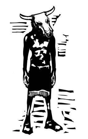 Woodcut style expressionistic image of a Greek mythological Minotaur 向量圖像