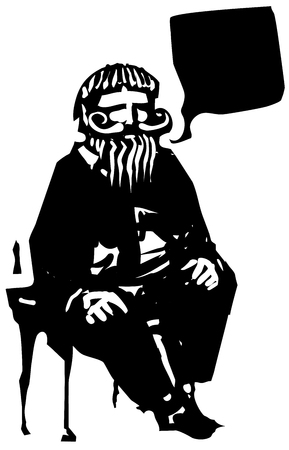 word balloon: Woodcut style expressionistic image of an old bearded man with a word balloon.