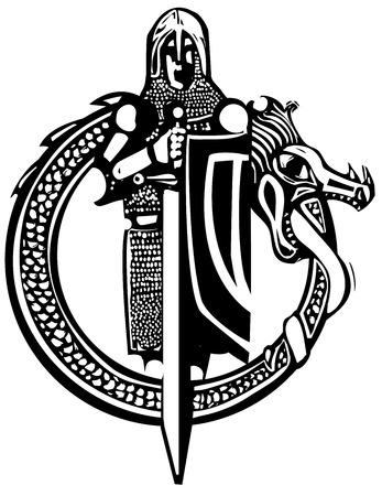 Le style de gravure sur bois chevalier médiéval dans un cercle de dragon. Banque d'images - 66578418
