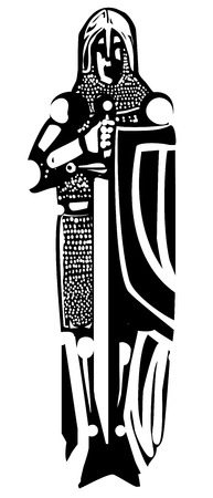 templar: Woodcut style medieval knight like one might see in a cathedral tomb. Illustration