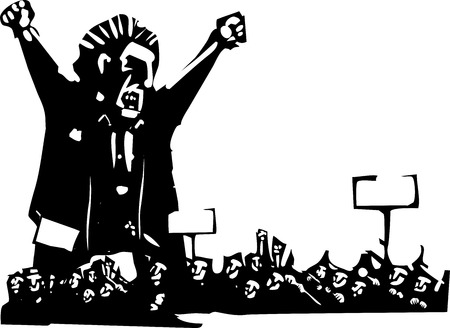 Woodcut style expressionist image of an angry man above a protest Ilustração
