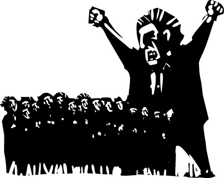voters: Woodcut style expressionist image of an angry man above a group of scared voters Illustration