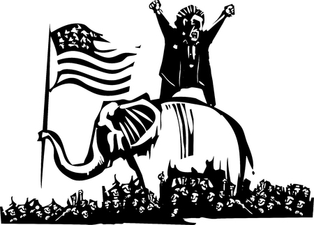 fearful: Woodcut style expressionist image of flag waving elephant and angry man over crowd Illustration