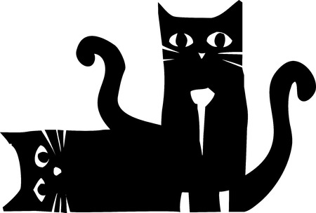Woodcut style image of two black cats one sitting and the other lying down.