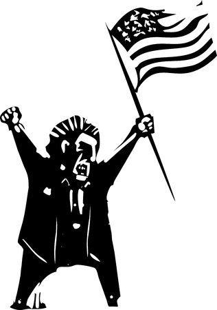 Woodcut style expressionist image of flag waving angry man