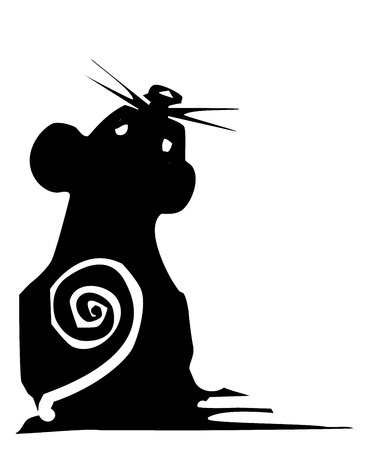 Woodcut style expressionistic mouse with a spiral tail. Vector Illustration